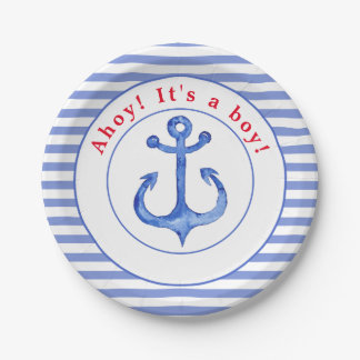 Nautical Anchor   Striped Babyshower Paper Plate