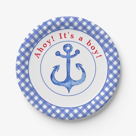 Nautical Anchor | Striped Babyshower Paper Plate 7 Inch Paper Plate