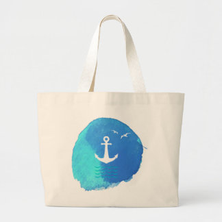 Nautical Anchor Theme in Watercolor. Large Tote Bag