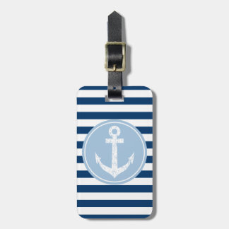 Nautical anchor travel luggage tag with stripes