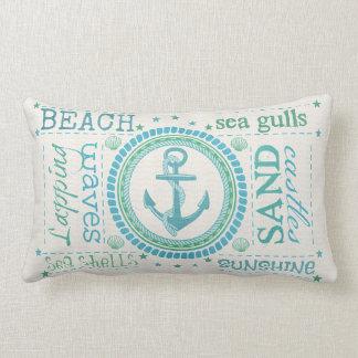 Nautical Anchor Typography Beach Lumbar Pillow