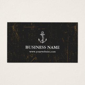Nautical Anchor Vintage Grunge Dark Business Card