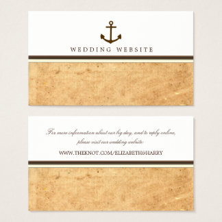 Nautical Anchor Vintage Paper Wedding Website Business Card