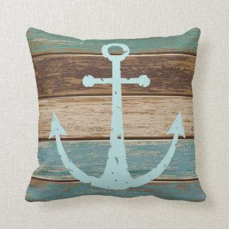 Nautical Anchor Weathered Wood Coastal Themed Cushions