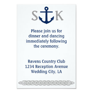 Nautical Anchor Wedding Invitation Enclosure Grey