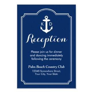 Nautical Anchor Wedding Reception Navy Blue 9 Cm X 13 Cm Invitation Card