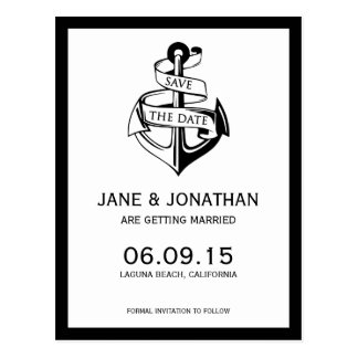 Nautical Anchor Wedding Save the Date Postcard