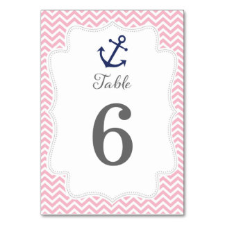 Nautical Anchor Wedding Table Number Card