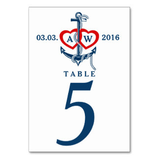 Nautical anchor Wedding table numbers Wedding set