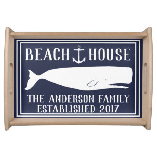 Nautical Anchor & Whale Family Beach House Serving Tray