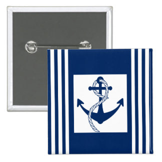 Nautical Anchor with a Rope 15 Cm Square Badge