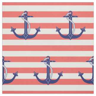 Nautical Anchor with Coral Stripes Fabric