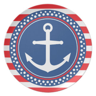 Nautical anchor with dot border and red stripes plate