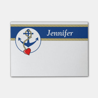 Nautical Anchor With Heart Post-it Notes