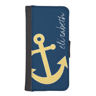 Nautical Anchor with Navy Yellow Chevron Pattern