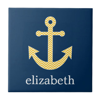 Nautical Anchor with Navy Yellow Chevron Pattern Ceramic Tile