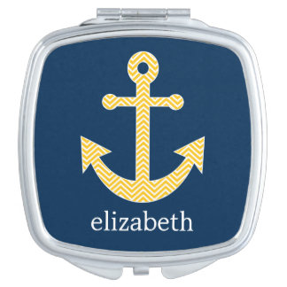 Nautical Anchor with Navy Yellow Chevron Pattern Compact Mirror