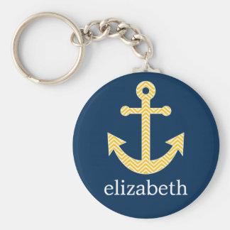 Nautical Anchor with Navy Yellow Chevron Pattern Key Ring