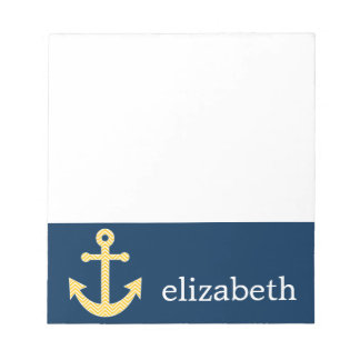 Nautical Anchor with Navy Yellow Chevron Pattern Notepad