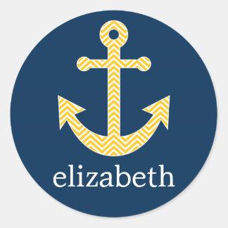Nautical Anchor with Navy Yellow Chevron Pattern Round Sticker