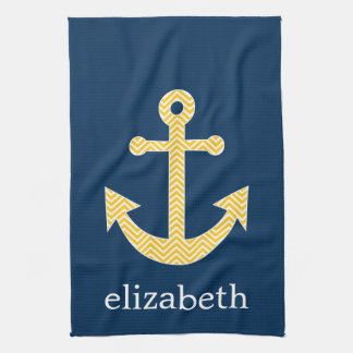 Nautical Anchor with Navy Yellow Chevron Pattern Tea Towel