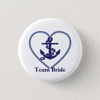 Nautical Anchor with Rope Heart Wedding Team Bride 3 Cm Round Badge