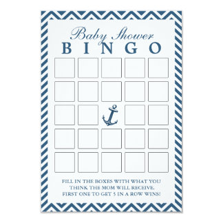 Nautical Anchor Zigzag Baby Shower Bingo Cards