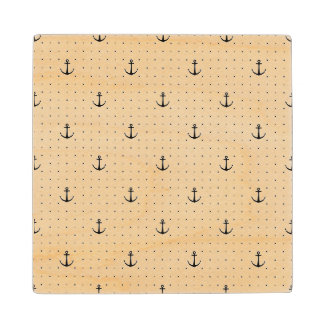 Nautical Anchors 4 Wood Coaster