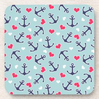 Nautical Anchors and Hearts Pattern Coaster