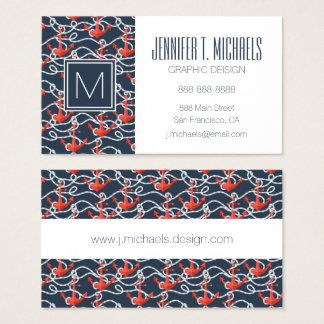 Nautical Anchors And Rope Pattern Business Card
