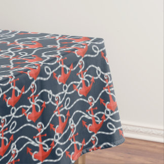 Nautical Anchors And Rope Pattern Tablecloth