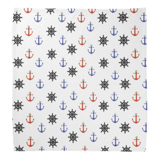 Nautical Anchors and Wheels Red and White Bandanna