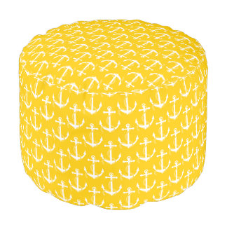 Nautical Anchors Aweigh Yellow Pouf