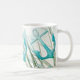 Nautical Anchors Beach Ocean Seaside Coastal Theme Coffee Mug