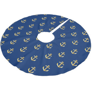 Nautical Anchors (Boat Anchors) - Blue Gold Brushed Polyester Tree Skirt