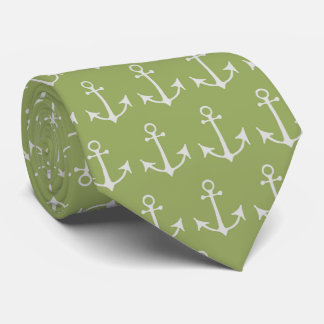 Nautical Anchors (Boat Anchors) - Green Gray Tie