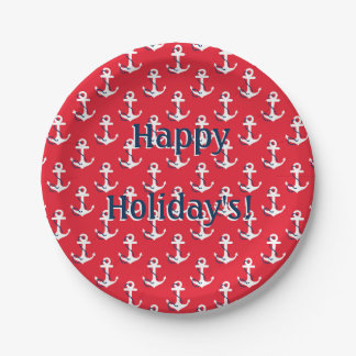Nautical Anchors Customizable Holiday Message Paper Plate