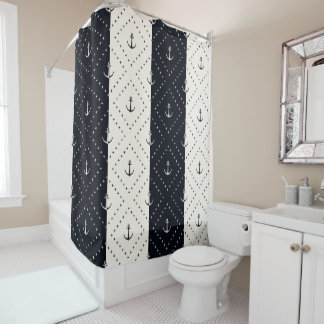 Nautical Anchors in Diamonds Cream and Black Shower Curtain