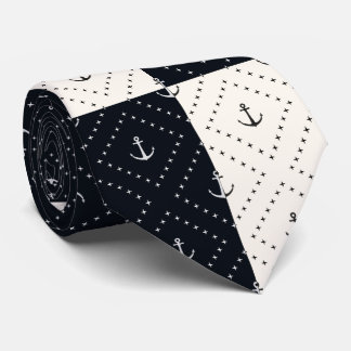 Nautical Anchors in Diamonds Cream and Black Tie