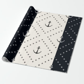Nautical Anchors in Diamonds Cream and Black Wrapping Paper