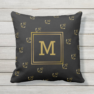 Nautical Anchors Pattern Black and Gold Monogram Cushion