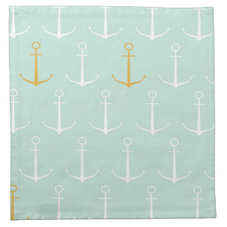 Nautical anchors preppy girly blue anchor pattern napkin