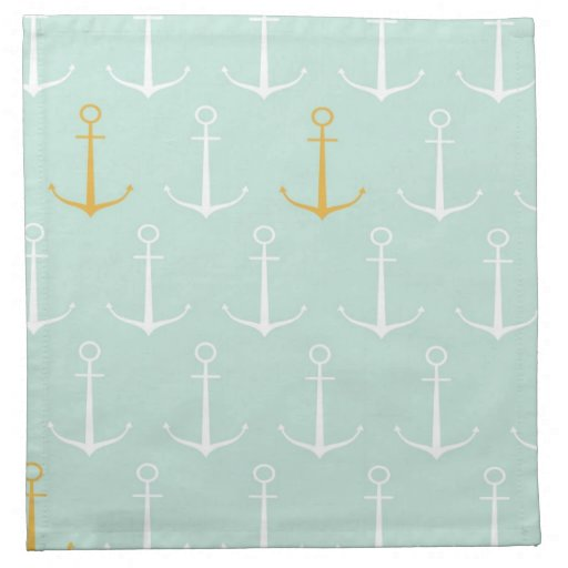 Nautical anchors preppy girly blue anchor pattern napkins ...