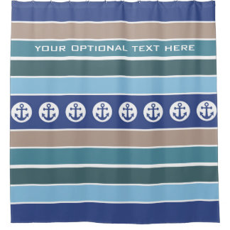 Nautical Anchors & Stripes custom shower curtain