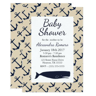 Nautical Anchors & Whale Baby Shower Card
