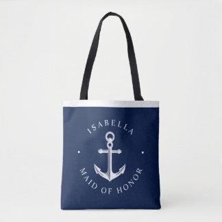 Nautical Ancor Nautical Wedding Party Navy Tote Bag