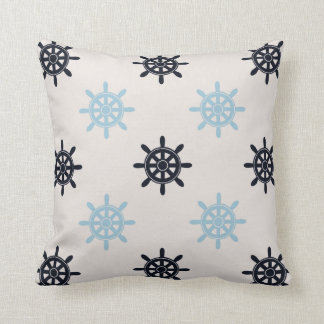 Nautical Aqua / Ship Wheel / White and Navy Blue Throw Pillow