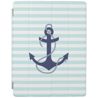 Nautical Aqua & White Stripes Navy Blue Anchor iPad Cover