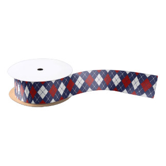 Nautical Argyle Pattern Satin Ribbon