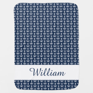 Nautical Baby Blanket in Blue and White